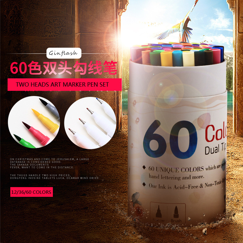 12~60Colors erasable Double Head Artist Soluble Colored Sketch Marker soft Brush liner Pen Set Drawing Design Art Marker fiber artist double headed marker set 60colors design mark pen animation design paint sketch copic markers for drawing paint brush
