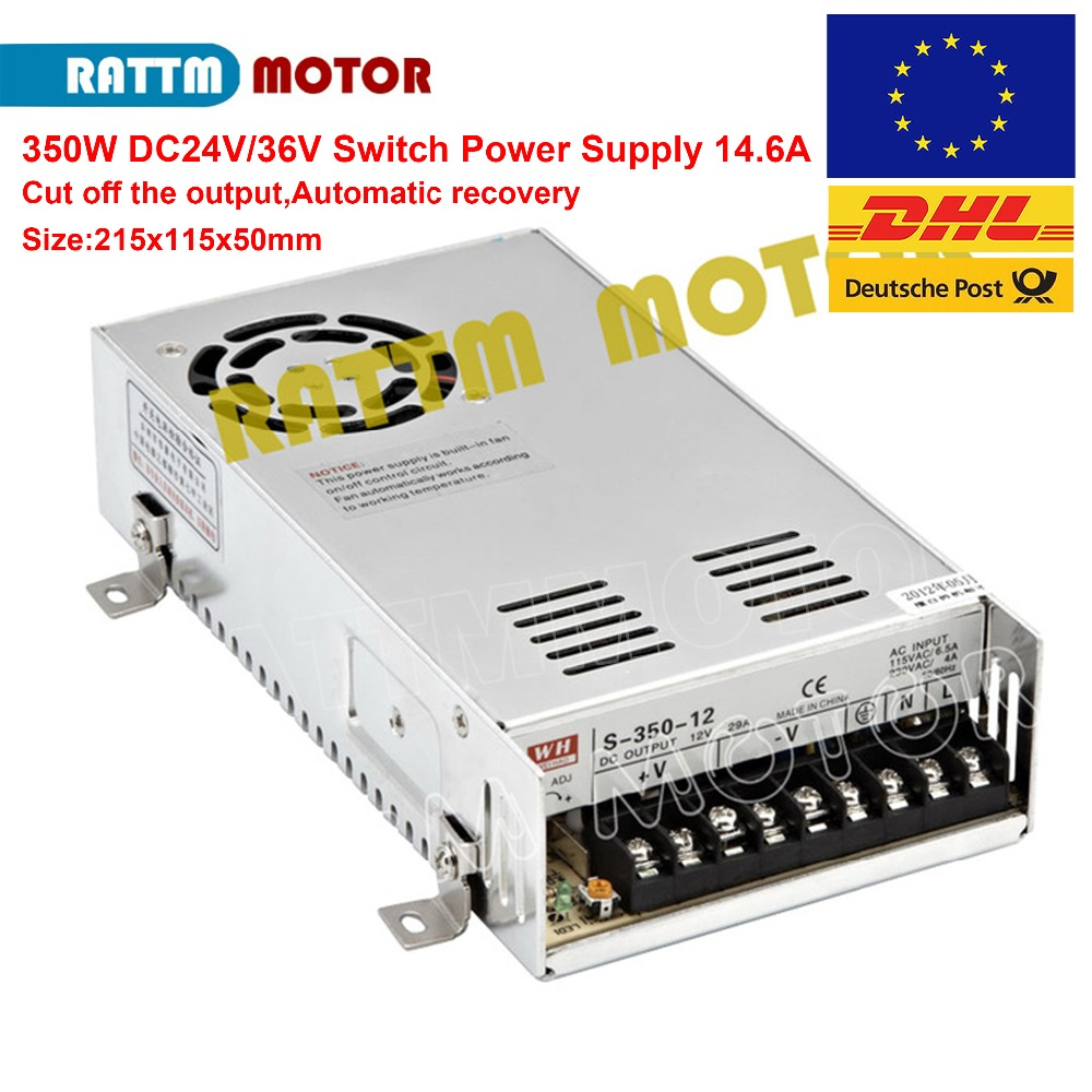 EU Ship!!! 350W 24V/36V Switch Power Supply CNC Router Single Output Power Supply Mill Cut Laser Engraver Plasma