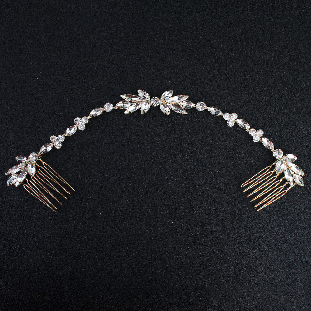 <font><b>Wedding</b></font> Scattered Rhinestone Headband Bridal Chain Bride Comb Bridesmaid <font><b>Headpiece</b></font> Golden <font><b>Hair</b></font> Jewelry <font><b>Accessories</b></font> Boho Chic image