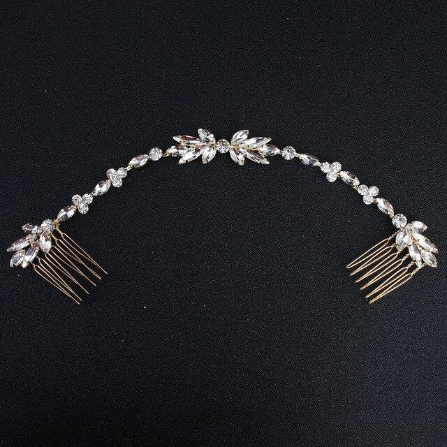 Mariage dispersé strass bandeau mariée chaîne mariée peigne demoiselle d'honneur casque doré cheveux bijoux accessoires Boho Chic