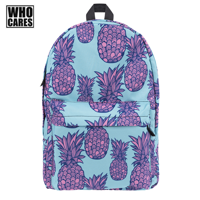 Schoolbag Who Cares Pink pineapple Fruit Printing Backpack for Teenage Girls School Bags Ligth Blue Travel Bagpack Free shipping women casual backpack for teenage girls children school bags bagpack lady laptop backpack student book bag schoolbags pink blue