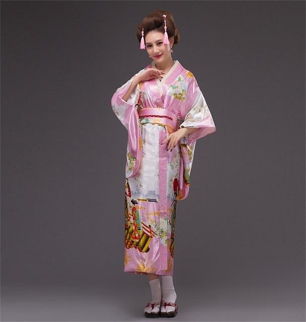 2017 Yeni Moda Pembe Japon Vintage Orijinal Gelenek Yukata İpek Kimono Ile Obi Abiye Bir boyutu