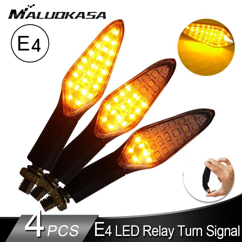 4PCS Motorcycle Turn Signals Light E4 Mark Built Relay Flowing Water Flashing Light 20LED Blinker Bendable Tail Signal For Honda