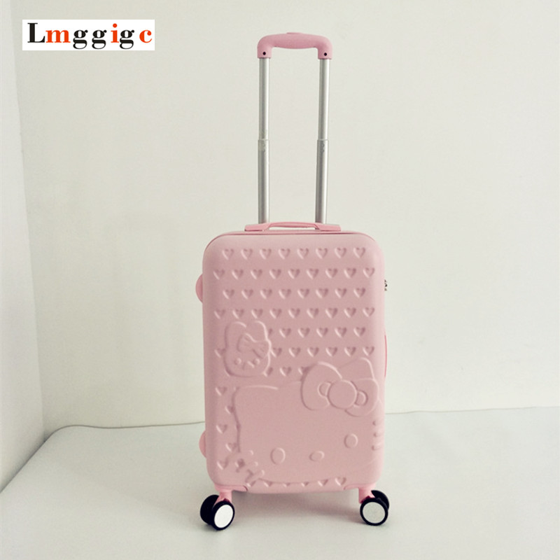 цена на Hello Kitty Luggage bag ,Women Suitcase,Fashion ABS Cartoon Travel Box,Rolling Carry On,Trolley Hardcase Case,Gift for Children
