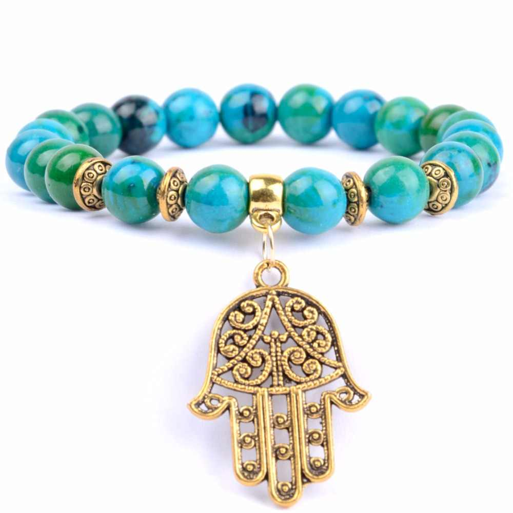 Golds Plated Fatima Hand Charm Bracelet Men Natural Stone Bracelets & Bangles For Women Wristband Yoga Jewerly Wholesale