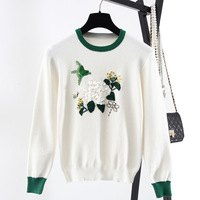 Autumn New Rabbit Cashmere Core Yarn Shirt Europe and the United States Round Neck Collar Hand made Flower Embroidery Pullovers