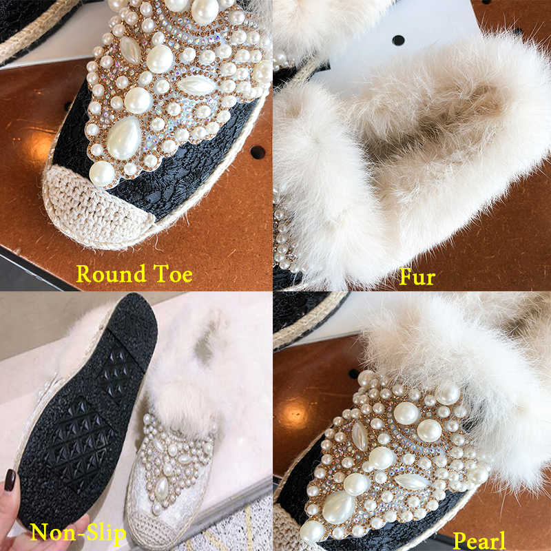 c09e386f7 ... Brand 2019 New Spring Luxury Slippers Pearl Fur Mules Shoes Woman High  Quality Fashion Winter Flats