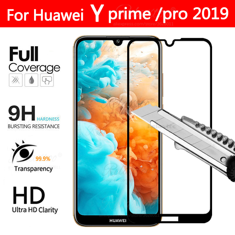 y6 pro 2019 Full cover Tempered Glass For Huawei Y5 Y6 Y7 prime pro 2019 case on For Huawei huawey hauwei y 6 7 Protective glass(China)