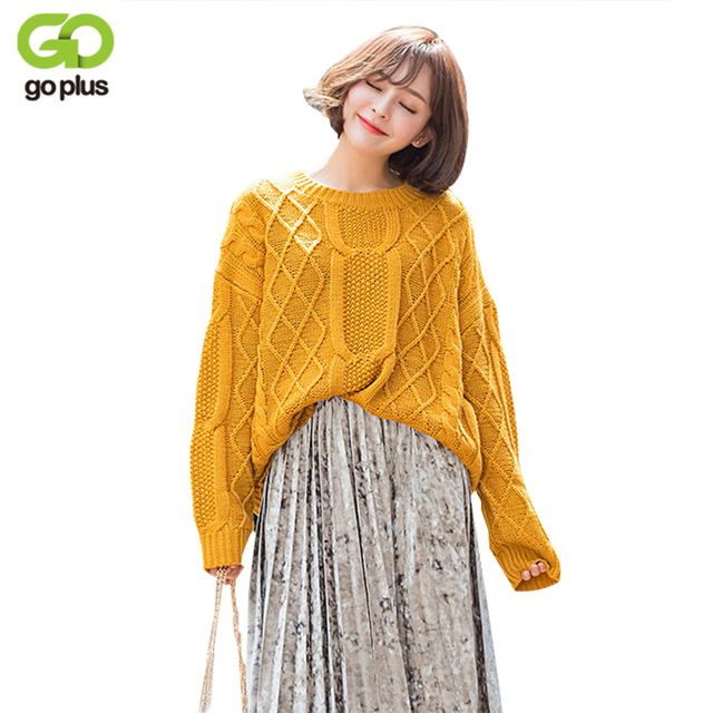 Goplus Oversized Yellow Crochet Sweater Women Solid Color Geometric