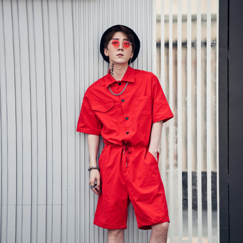 2018 Summer Solid Multi-Pocket Men's Short-Sleeve Shorts Workwear Rompers Set Fashion Casual Pant Loose Jumpsuit Size M L XL