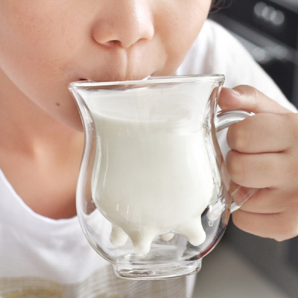 Transparency Glass Cup Mug Handmade Double-layer Cow Milk Jar Heat Resistant Home Office Milk Coffee Juice Tea Drinkware Mugs