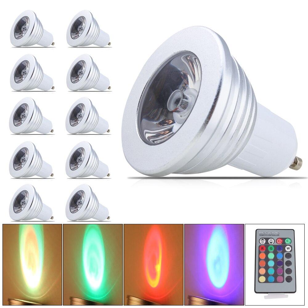 10X RGB ampoule lampe 16 couleurs changeant 85 V-265 V scène magique DJ Disco lumières Dimmable LED Lampada IR contrôleur dans GU10 LED ampoule