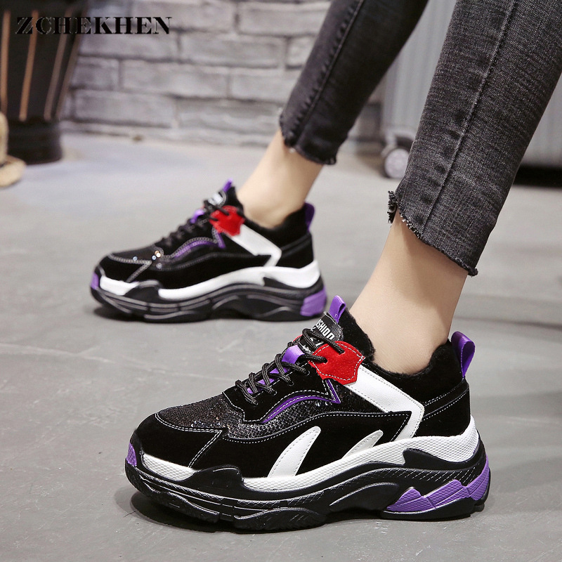 Fashion Women chunky bling Sneakers Winter Shoes Woman Platform dad Shoes Casual Lace Up Flat Shoes Trainers Triple S Baskets