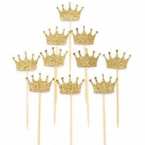 Image 1 - 10 pcs Gold/Silver Glitter มงกุฎกระดาษกระดาษเค้ก Topper ชุดส่วนบุคคลงานแต่งงาน Baby Shower วันเกิด Cupcake ตกแต่ง