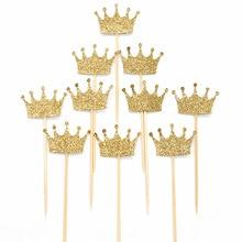 10 sztuk złota/srebrny brokat papieru korona na tort papier Topper zestaw spersonalizowany ślub Baby Shower babeczka urodzinowa dekoracje