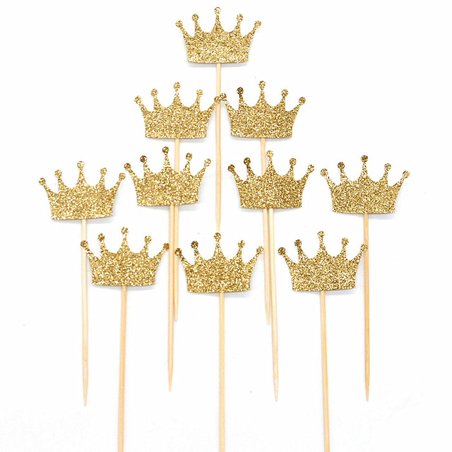 10pcs Gold/Silver Glitter Paper Crown Cake Paper Topper Kit Personalized Wedding Baby Shower Birthday Cupcake Decorations