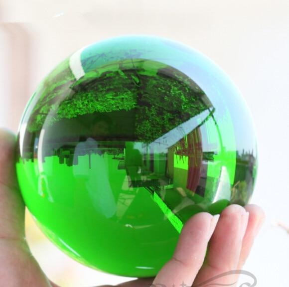 80mm Green Asian Crystal Smooth feng shui Crystal Glass Ball Sphere Fashion Table Decor Good Luck Ball For Christmas Magic Gifts
