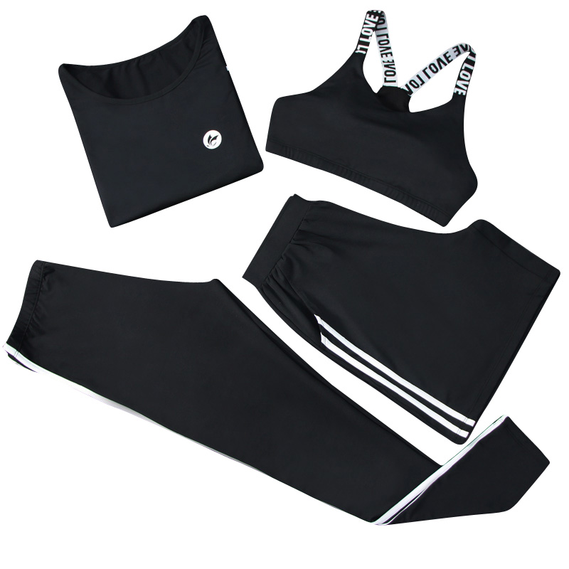 все цены на VERZY women S-2XL 4 in 1 yoga set shirt+bra+shorts+pants black grey striped sports suit for lady gym outdoor clothes tracksuit