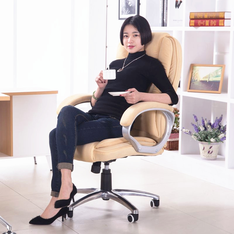 Super Soft Flannelette Fabric Office Chair Household Computer Chair Casual Lifting Lying Chair Thicken Ergonomic Boss Chair 240337 ergonomic chair quality pu wheel household office chair computer chair 3d thick cushion high breathable mesh
