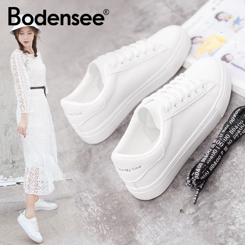BODENSEE White Sneakers Women Canvas Shoes Women Fashion Vulcanize Shoes Summer Casual Zapatillas Mujer(China)