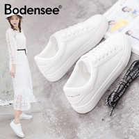 Zapatillas blancas BODENSEE zapatos de lona para Mujer zapatos de moda vulcanizados de verano Zapatillas casuales Mujer talla grande 35-42