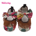 Meninas do bebê Sapatos Primeiros Walker Menina Sapatos Recém-nascidos Sapatos Da Criança Infantis Retro Franja Sneakers Fundo Macio Anti-escorregar Mocassins um