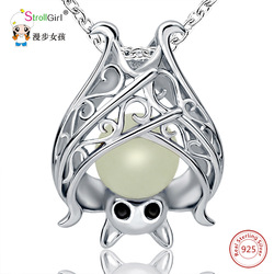 925 Sterling Silver Chain Luminous Pendant Necklace Girl Fashion Jewelry Animal Glowing Bat Necklaces & Pendants For Women 2018