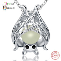 925 Sterling Silver Chain Luminous Pendant Necklace Girl Fashion Jewelry Animal Glowing Bat Necklaces Pendants For