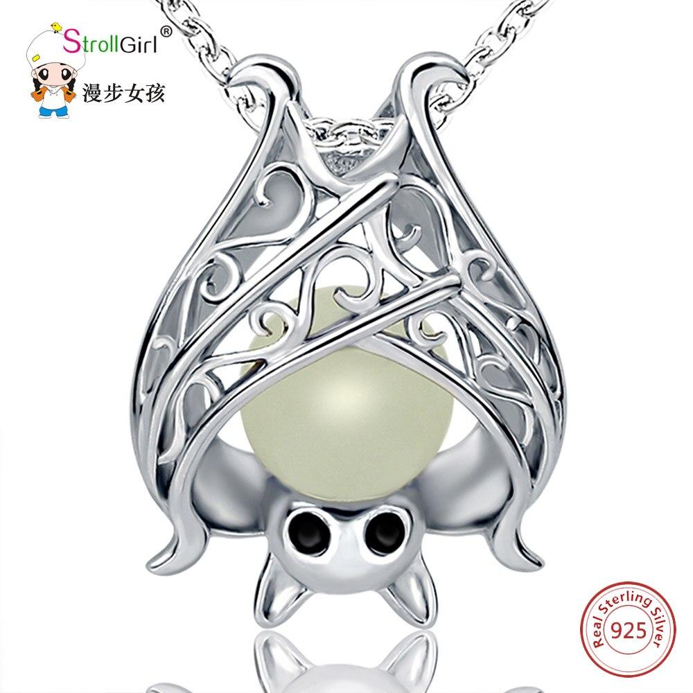 SG 925 Sterling Silber Kette Anhänger Halskette Modeschmuck Hohle Glowing Bat Halloween Halsketten & Anhänger Für Frauen 2017