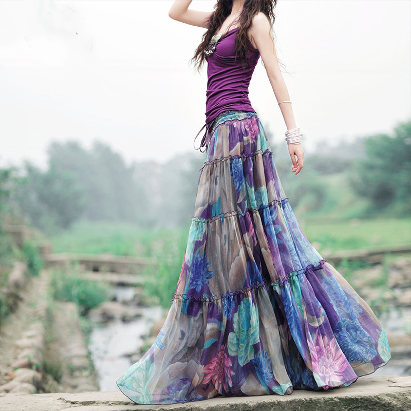 BOSHOW Bohemian Original Design Summer Fancy Purple Romantic Floral Print  Beach Oversized Ruffles Casual Chiffon Long Skirts