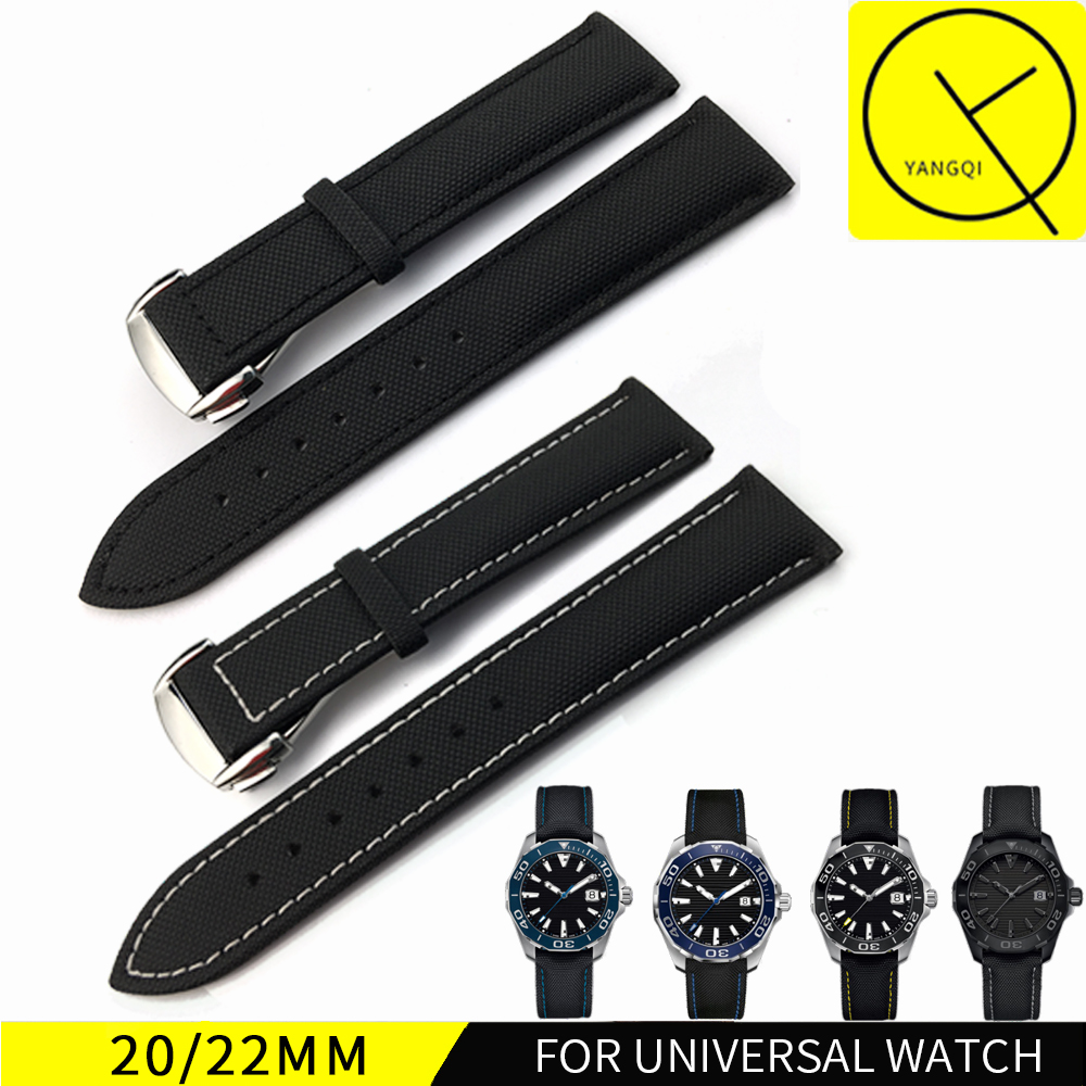 20mm 22mm Stainless Steel Buckle Watch Bracelet Colorful Nylon Leather Strap for TAG AQUARACER for Ocean Racer SEAWOLF Watch survival nylon bracelet brown