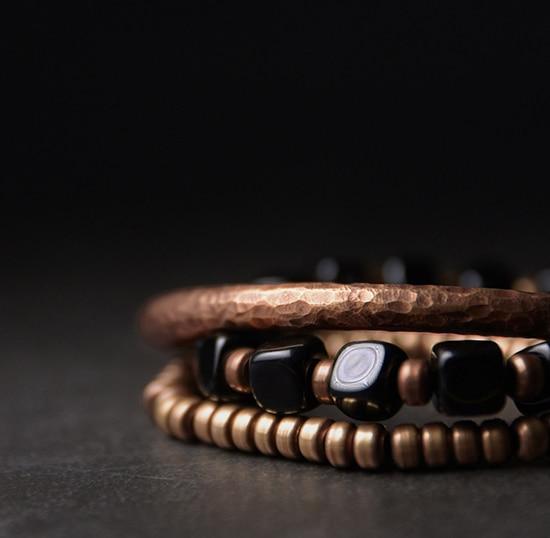 2019-New-Cubic-Black-Obsidian-Multi-row-Bracelet-With-Antique-Finish-Copper-Accessories-Men-Women-Couple-Jewelry-Punk-Street (3)