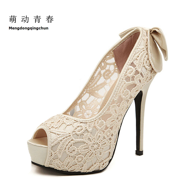 Women Wedding Shoes Sexy Lace Bowtie Platform Pumps Ladies Summer Peep Toe High Heels Sweet Bridal Dress Shoes Female meotina women wedding shoes 2018 spring platform high heels shoes pumps peep toe bow white slip on sexy shoes ladies size 34 43