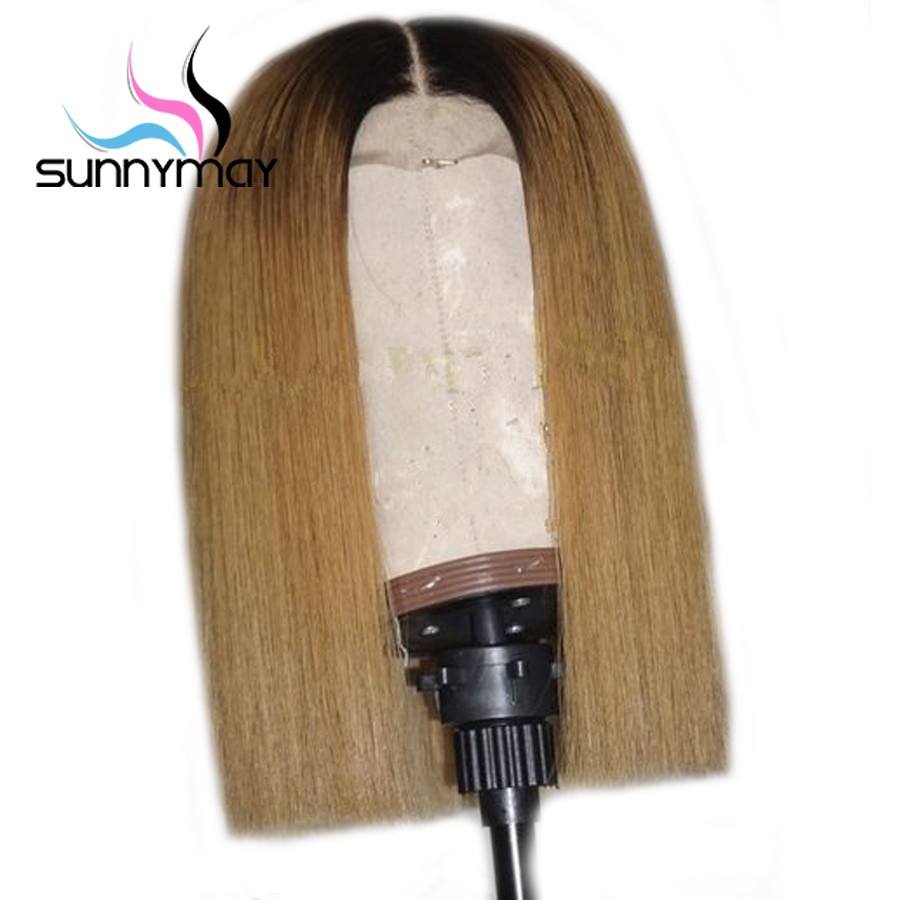 Sunnymay T1b/27 Ombre Wigs Pre Plucked Bob Wigs With Dark Roots Remy Hair Straight Lace Front Human Hair Wigs With Baby Hair