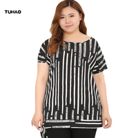 TUHAO 2018 4XL 6XL 8XL 10XL Plus Size blouses for Women Top Long Casual Striped blouse Summer Shirts female Blouses shirts MS57