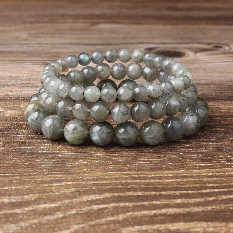 Lingxiang 4 6 8 10 12mm Natural gray moonstone beads labrador beads handmade bracelet for men and women in Strand Bracelets from Jewelry Accessories