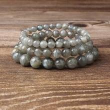 Lingxiang 4/6/8/10/12mm Natural gray moonstone beads labrador handmade bracelet for men and women