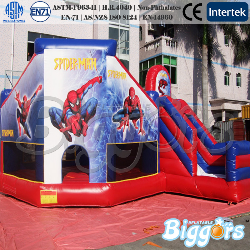 Commercial Spiderman Bounce House Inflatable Slide Combo ...