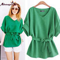 Ahmagen 2017 Plus Size XL-5XL Women Linen Blouse V Neck Bow Tie Batwing Sleeve Shirt Loose Ladies Blouses and Tops Blusas Mujer