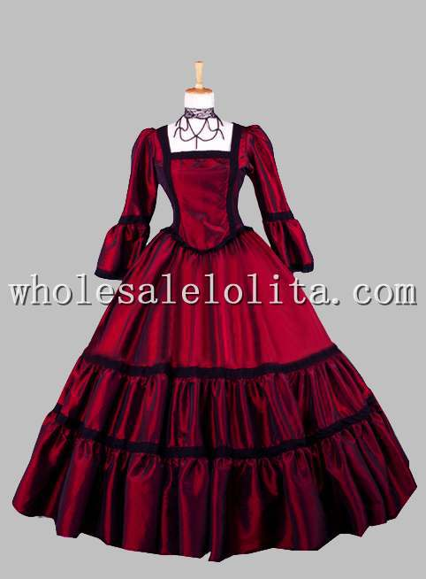 Gothic Wine Red Square Collar Victorian Era Dress Ball Gown Historical Halloween Costume