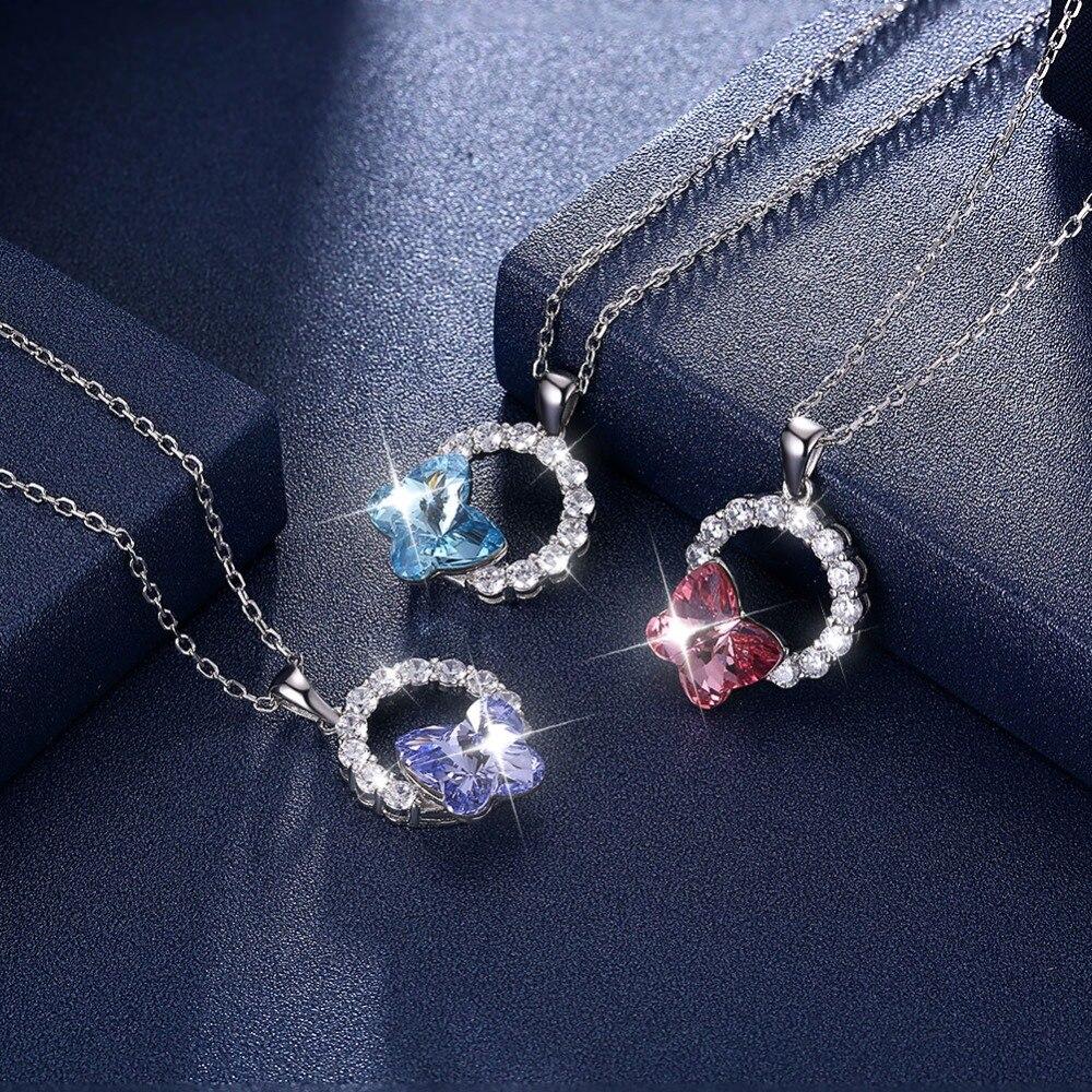 2db6fb787746 LEKANI cristales originales de Swarovski mariposa círculo colgante collares  S925 plata joyería ...