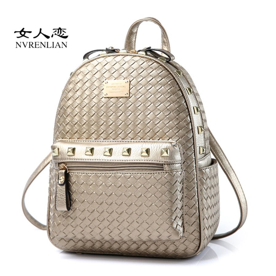 Rivets Women Backpack Fashion Casual Leather Knitting Backpacks for Teenage Girls School Travel Bag Female Shoulder
