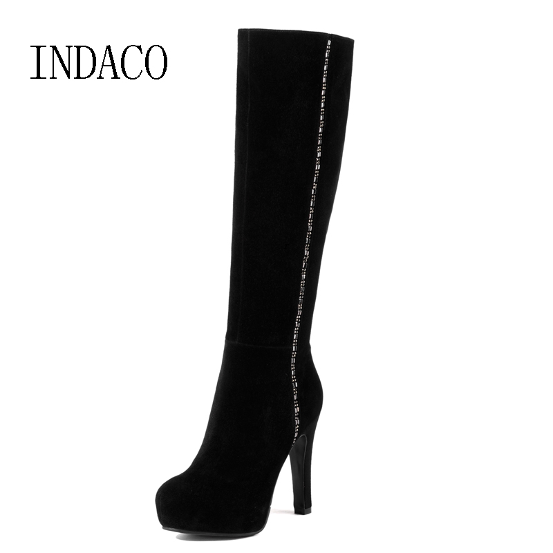 Leather Suede Knee High Boots Rhinestone Thin High Heel Over the Knee Boots Black Winter Boots for Women ppnu woman winter nubuck genuine leather over the knee snow boots women fashion womens suede thigh high boots ladies shoes flats