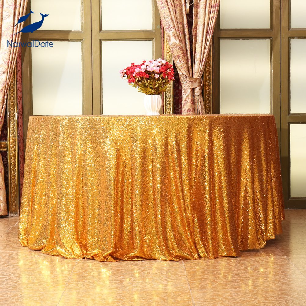 Narwaldate Wedding Table Cloth Sequin Round Tablecloth Gold Cloths Embroidered Party Celebrate Decor