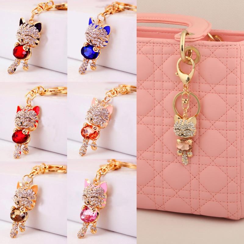LNRRABC Cat Women Bag Keychain Holder Gold Color Rhinestone Women Handbag Charm Metal Key Chains Key Rings Pendant llaveros