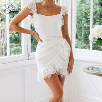 Gold Hands Lace Backless Summer Dress 2019 Women Sexy Elegant Bodycon Party Dress Embroidery Hollow Out Short Mini Dress White