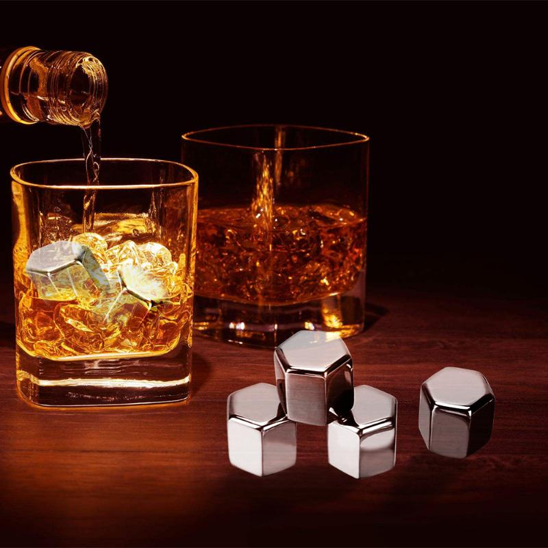 4pcs/set Stainless Steel Cooler Stones Whisky Wine Juice Durable Eco-Friendly Ice Cubes with Clip Party Barware Tools