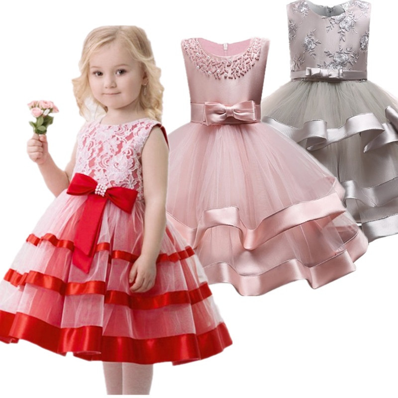 2019 Elegant Pearl Cake   dress   Princess   Girls   Wedding Party   Dress   For Wedding   Flower     Girl     Dress   Children Clothes Ceremonies   Dress