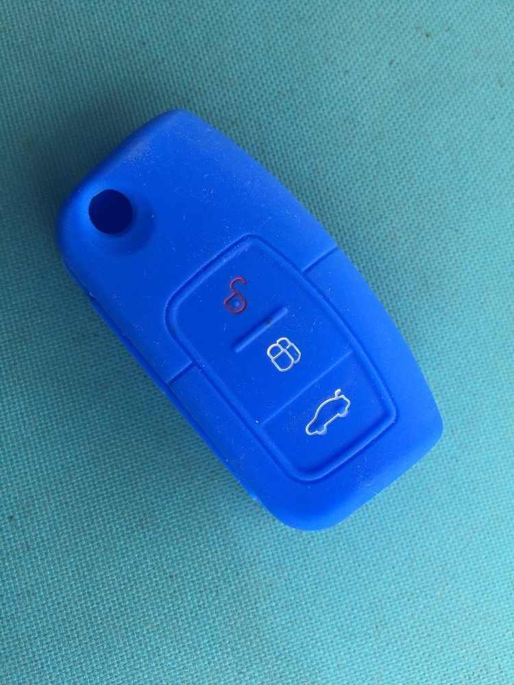 Pusakieyy 1 pcs new Silicone Tampa Do Caso shell Para Ford Fiesta C Max Ka 3 Botão Aleta Dobrar Chave Modificada shell Fob Remoto em branco