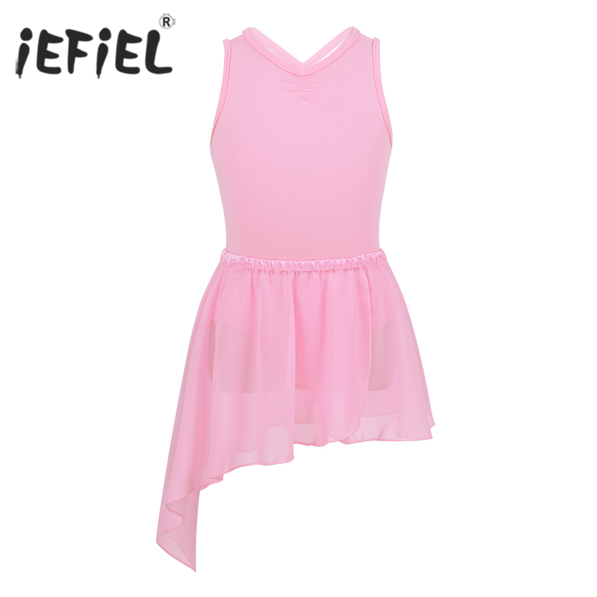 Kids Girls Sleeveless Ballerina Tutu Dancewear Criss-cross Back Ballet Dancing Class Gymnastics Leotard with Chiffon Skirt
